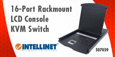 New Tech Industries 16 Port Rackmount LCD Console KVM Switch